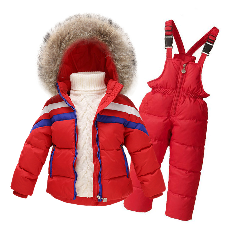Children Boys/Girls Winter Clothing Set Overalls 100%White Duck Down Filling 2016 Snowsuit Jacket Coat + Jumpsuit Kids Ski Suit 2016 winter boys ski suit set children s snowsuit for baby girl snow overalls ntural fur down jackets trousers clothing sets