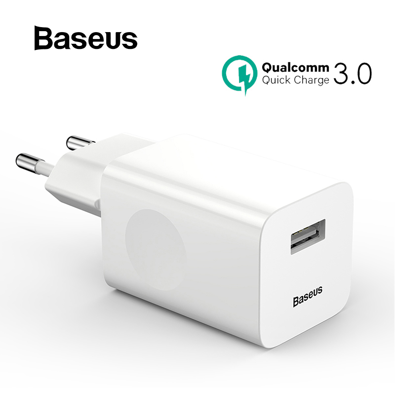 Baseus Quick Charge 3.0 USB Charger Travel Mobile Phone Charger For iPhone Xiaomi Samsung USB EU Plug Wall Charger AdapterBaseus Quick Charge 3.0 USB Charger Travel Mobile Phone Charger For iPhone Xiaomi Samsung USB EU Plug Wall Charger Adapter