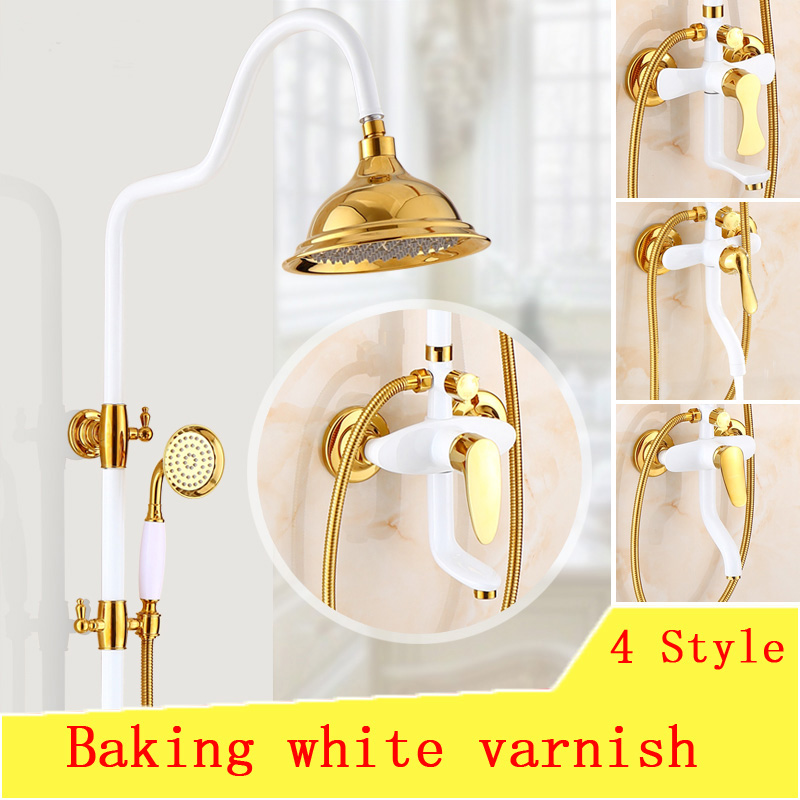 Baking white varnish shower faucet set shower head, Bathroom shower faucet wall mounted,Gold Plated rain shower faucet mixer tap