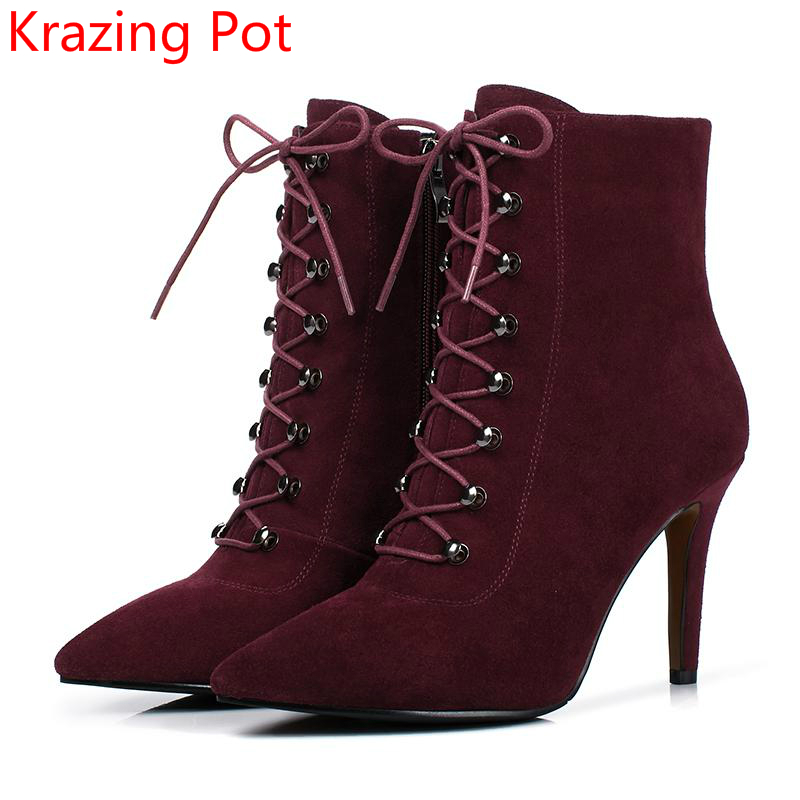 2018 New Arrival Pointed Toe Thin Heel Fashion Winter Boots Cow Suede Runway Lace Up Nightclub Casual Sexy Women Ankle Boots L51 new arrival women genuine leather flat ankle boots fashion round toe lace up ankle boots for women ladies casual cow suede boots
