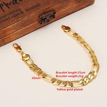 Masculino 24 k acabamento de ouro sólido 10mm italiano figaro link corrente pulseira 8.7 polegadas jóias