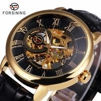 2016 Forsining 3d Logo Royal Design Black Gold Men Mechanical Watch Montre Homme Mens Watches Top
