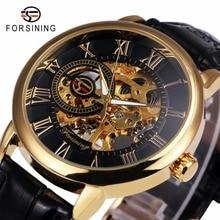 2016 Forsining 3d Logo Diseño Real Negro Oro Hombres Reloj Mecánico Esquelético Montre Homme Para Hombre Relojes de Primeras Marcas de Lujo de Cuero