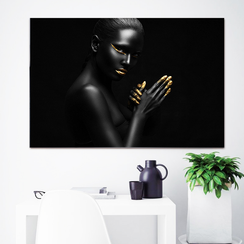 Canvas Painting Wall Art Pictures prints Black woman on canvas no frame home decor Wall poster decoration for living room in Painting Calligraphy from Home Garden