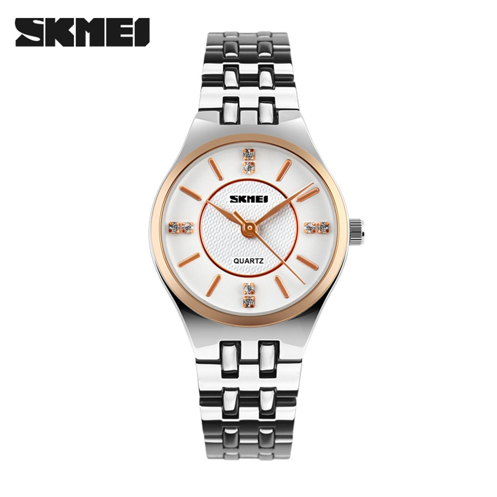 Women Waterproof Skmei Fashion Quartz Casual Business watch Watches Steel Band Wristwatch