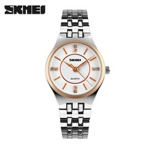 Women Waterproof Skmei Fashion Quartz Casual Business watch Watches Steel Band Wristwatch