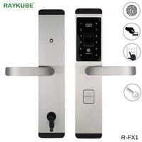 RAYKUBE блокировка отпечатков пальцев цифровой электронный дверной замок для дома Противоугонный Умный Замок Пароль и RFID карта R FX1