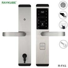 RAYKUBE blokada z użyciem linii papilarnych cyfrowy elektroniczny zamek do drzwi do domu zabezpieczenie przed kradzieżą inteligentna blokada hasło i karta rfid R FX1