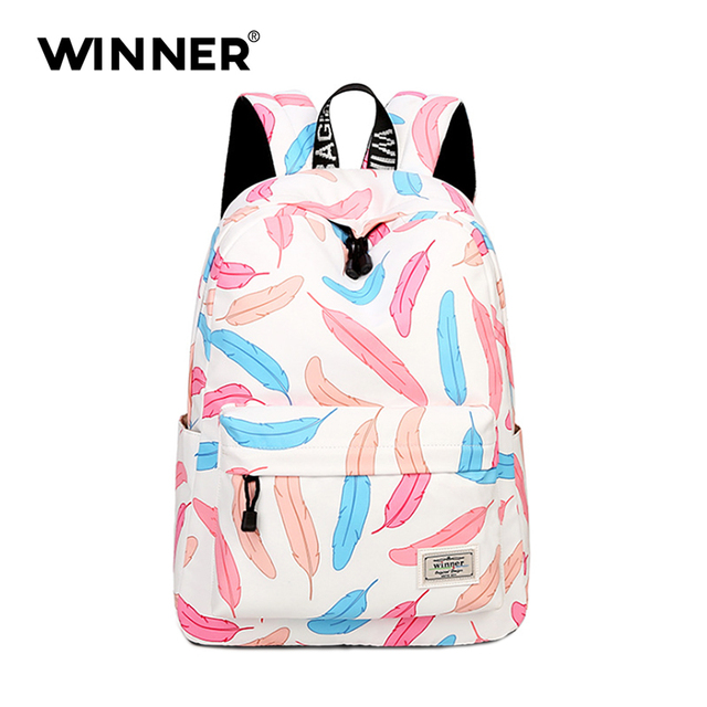 788fbe8e9125a6 Pink Feather Women College Backpack Brand School Bags for Teenagers Girls  School Backpacks Children backpacks Free Shipping