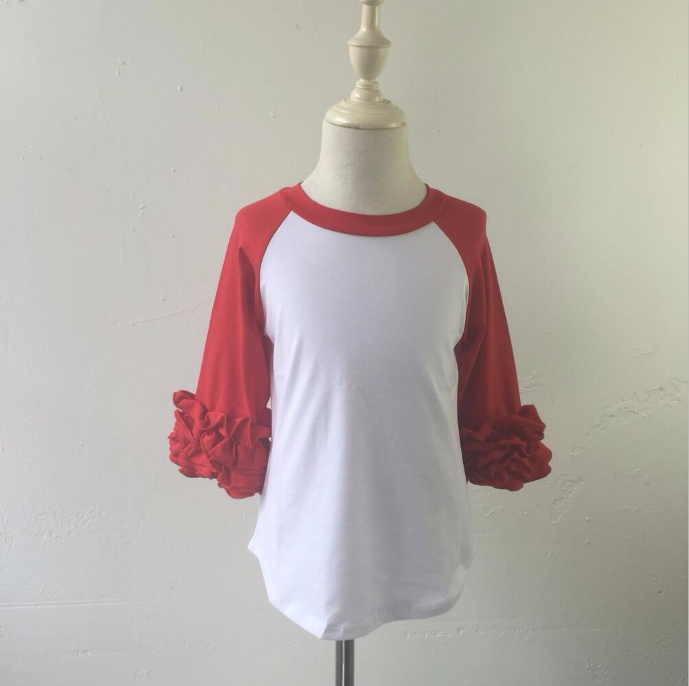 Hot Selling Baby American Red Raglan Apparel Baby Full Sleeve Super Cotton Shirts Kids Clothing Wholesale