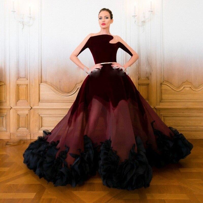 Elegant O neck Long Sleeves Evening Dresses Burgundy Velvet 2017 ...