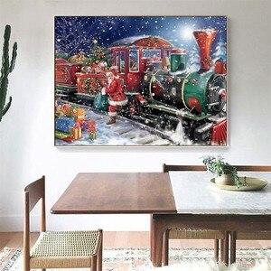 5D DIY бриллиантовый рисунок Рождество полный квадратный Стразы Алмазная мозаика Санта-Клаус поезд Алмазная вышивка продажа мультфильмов
