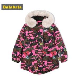 Image 2 - Balabala Girls down jacket winter big children short childrens jacket camouflage Korean version thick warm girls clothing