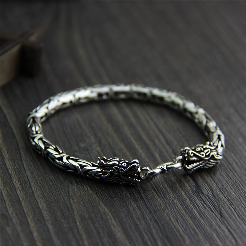 Silver Qi original design jewelry wholesale S925 sterling silver bracelet and leading retro Thai silver jewelry wholesale s925 sterling silver jewelry men fashion handmade retro thai silver original ring buckle bracelet