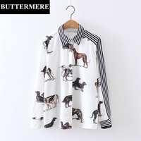 BUTTERMERE Womens Blouse Tops Casual Fashion Animal Printed Shirt White Striped Cardigan Spring Autumn Patchwork Tops