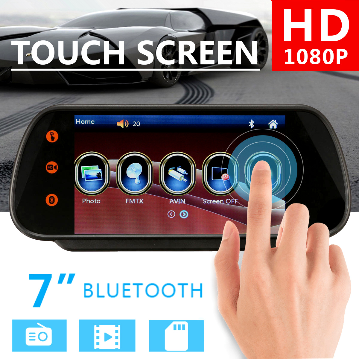 7'' TFT LCD Touch Screen Car Auto Video DVD MP5 Player HD Rearview Mirror Monitor Bluetooth MP5 Radio Parking Reverse Camera