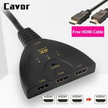 Cavor HDMI Splitter 4K*2K 3D Mini 3 Port HDMI Switch 1.4b Switcher For HDTV Xiaomi Box PS3 PS4 3 Port Splitte With 1M HDMI Cable