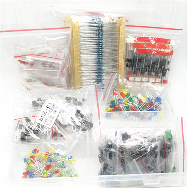 Metal film Resistor assortment kit led diodes Electrolytic Capacitor Ceramic set transistor Pack diy electronic components KitsMetal film Resistor assortment kit led diodes Electrolytic Capacitor Ceramic set transistor Pack diy electronic components Kits