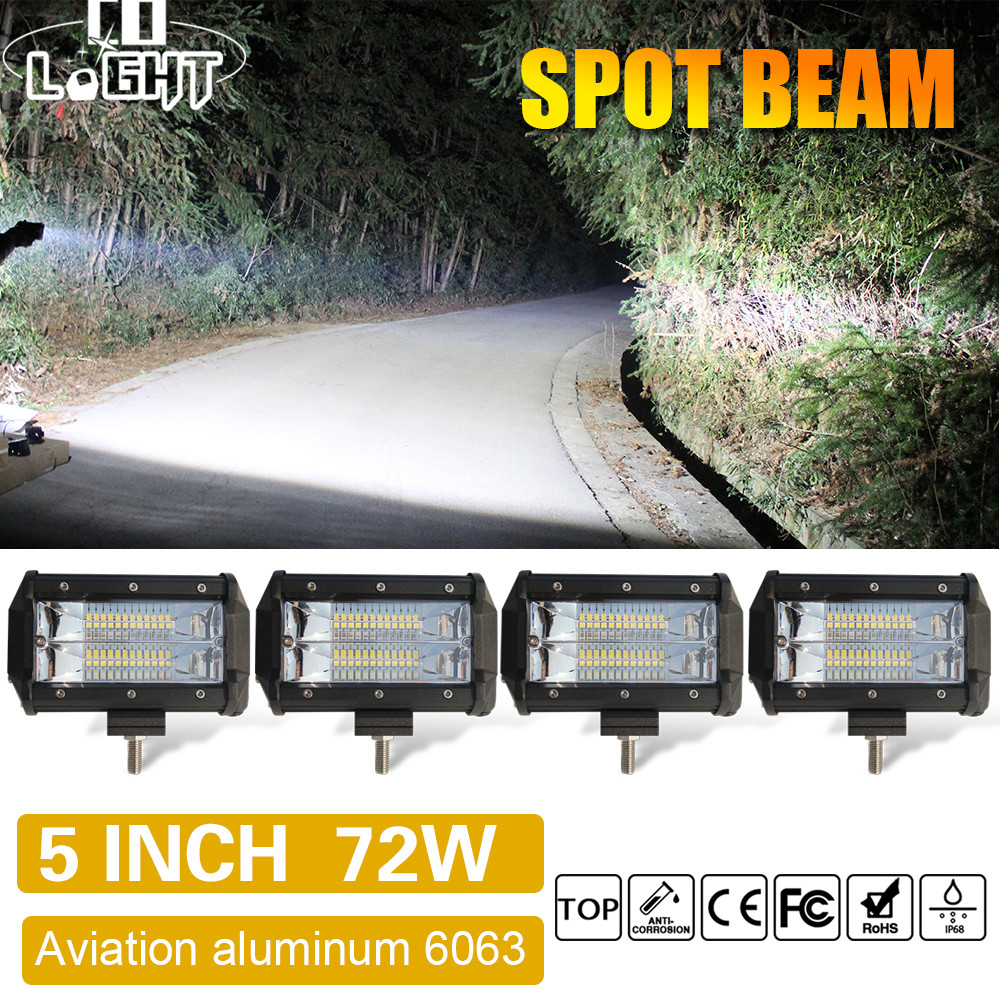 CO LIGHT Led Work Light Bar 5'' 72W Spot Led Beams Auto Car Light for Jeep Wrangler Lada Niva 4x4 ATV Daytime Running Light 12V 3 led car spot light