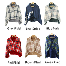Plaid Hoodie Fleece Flannel Plush Bts Serape Wearable Blanket Shawl Thickening Blanket Throw Sweatshirt Blanket Buffalo Plaid