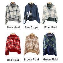 Plaid Hoodie Fleece Flanel Mewah BTS Serape Dpt Dipakai Selimut Selendang Penebalan Selimut Throw Sweatshirt Selimut Buffalo Plaid(China)