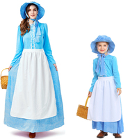 Cinderella Maid Cosplay Halloween Costume for Women Child Girl Parenting COS Fairy Tales Colonial Dress Blue Dress + Hat + Apron