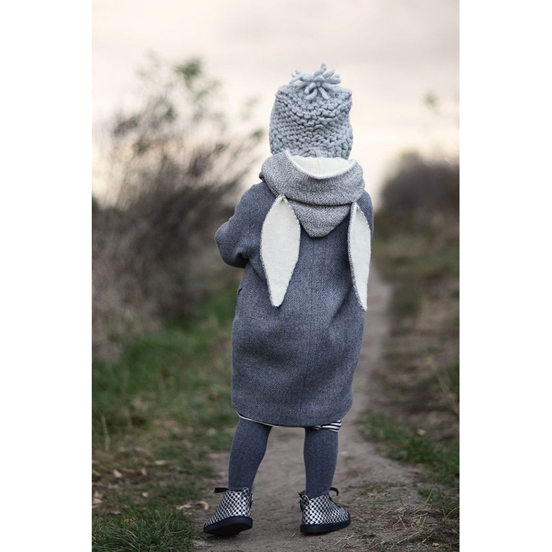 Crianças Hoodies Da Menina do Menino Dos Desenhos Animados Orelha de Coelho Cinza Longo Roupa Dos Miúdos Moletom Com Capuz Casaco de Algodão Outwear Bolsos Europa & América Do Bebê m-12 12 t