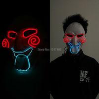 2017 Glowing EL Wire SAW Masquerade Mask Fashion Costume LED Flashing Light Luminous Party Mask Free Shipping