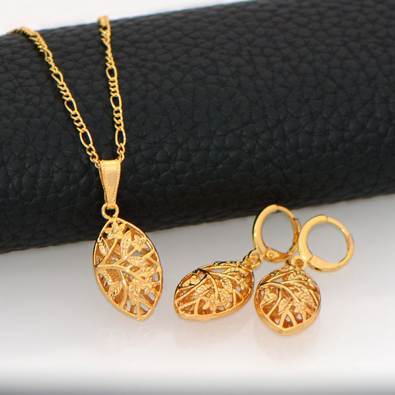 unique design Hollow out jewelry Set women Pendants Necklaces Earrings 18K Real Gold Plated India Jewelry Sets gifts HS20137-in Jewelry Sets from Jewelry ... : gold plated indian jewelry sets - pezcame.com
