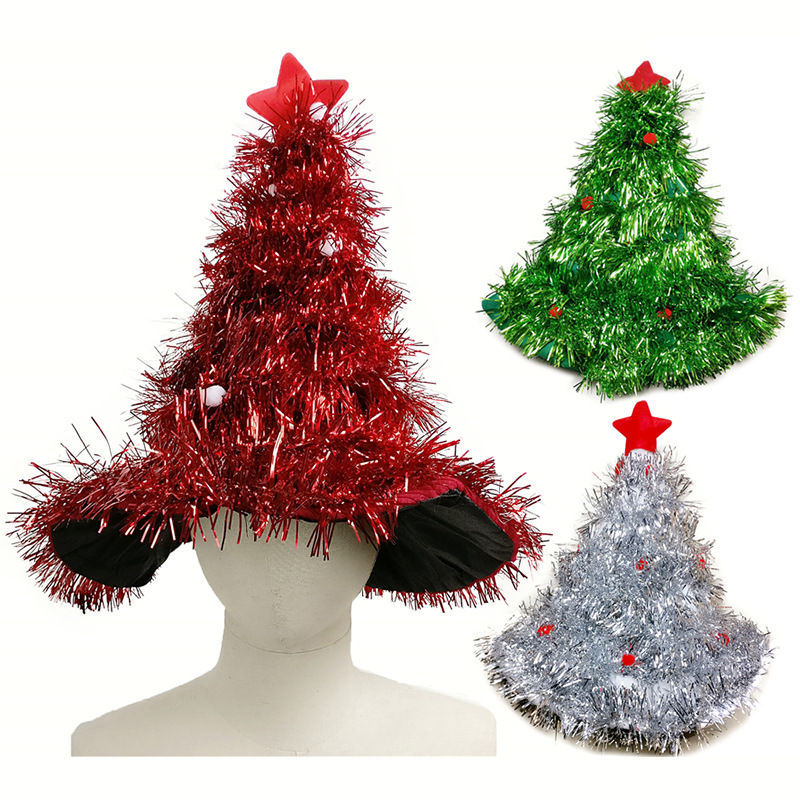 Christmas hats red silver green tree with star christmas for Christmas tree with red and silver decorations