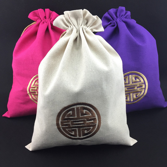 a673b321d8 Extra Large Embroidery Happy Drawstring Bag Linen Cotton Shoe Bags for  Travel Storage Pouch Bra Underwear