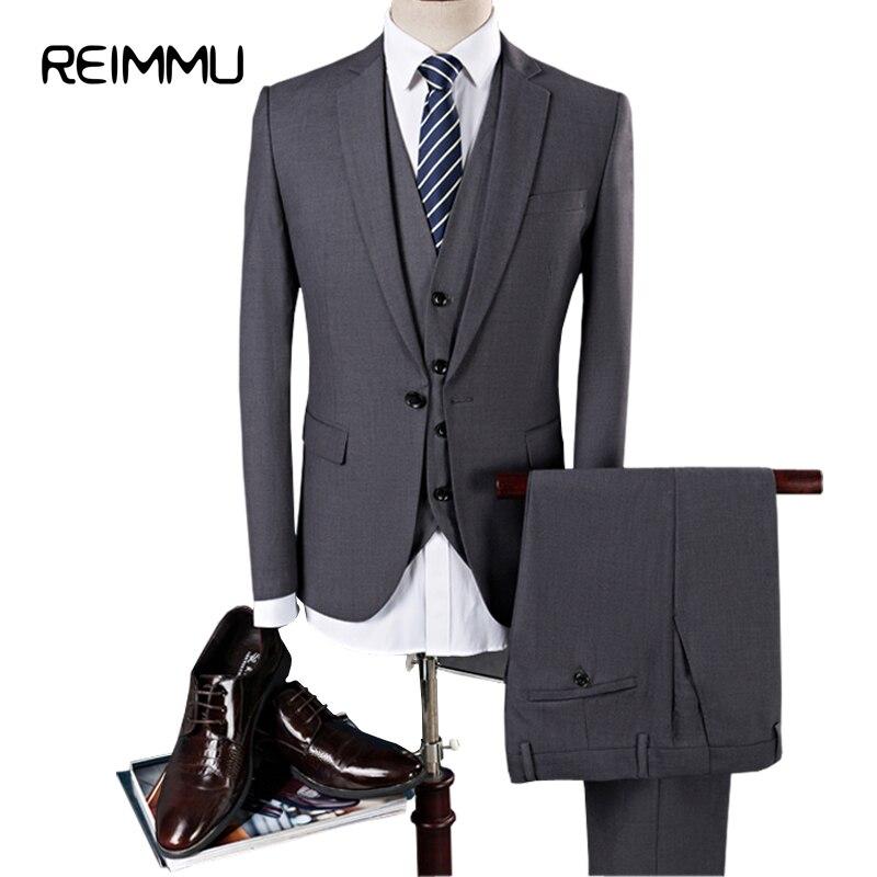 Reimmu Suit Blazer Men 2017 New Fashion Brand Clothing Slim Fit Men Suit High Quality Plus