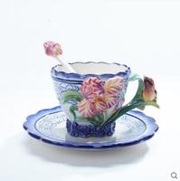 Hot Free shipping Blue and white orchid cup ceramic cup teacup set coffee flower and herb tea set new classical Free shipping