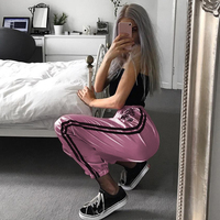Women Pant High Waist Silky Satin Embroidered Loose Harem Streetwear Ladies Casual Striped Trousers Shinny Sweatpants Sportwear