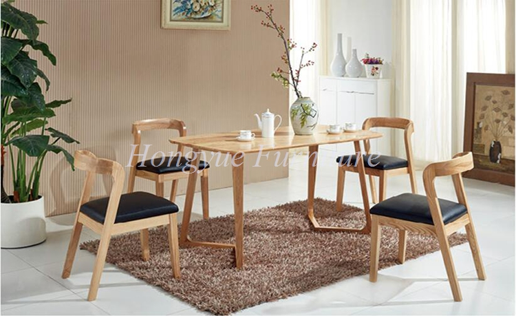 Natural Oak Wood Dining Table Leather Material Chair Set Furniture Sale China