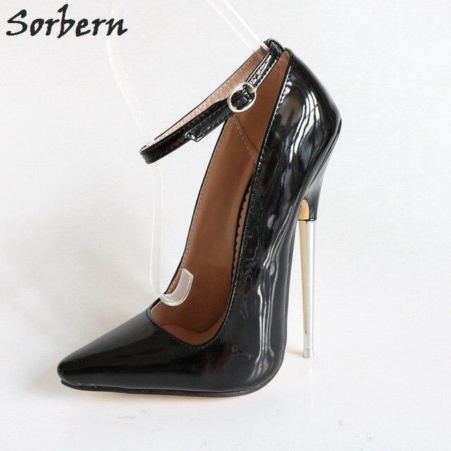 Sorbern Black Shiny Ankle Straps Pointed Toe Spike Metal High Heels 18Cm  Sexy Pole Dance Heels Bdsm Pump Fetish High Heel Shoe 98c6c7bdeec7