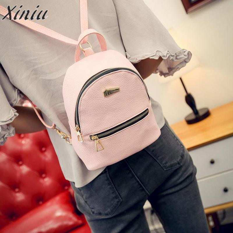 Pu Leather Backpack Solid Color Adjustable Tape Mini Backpacks For Girls Mochilas Femininas