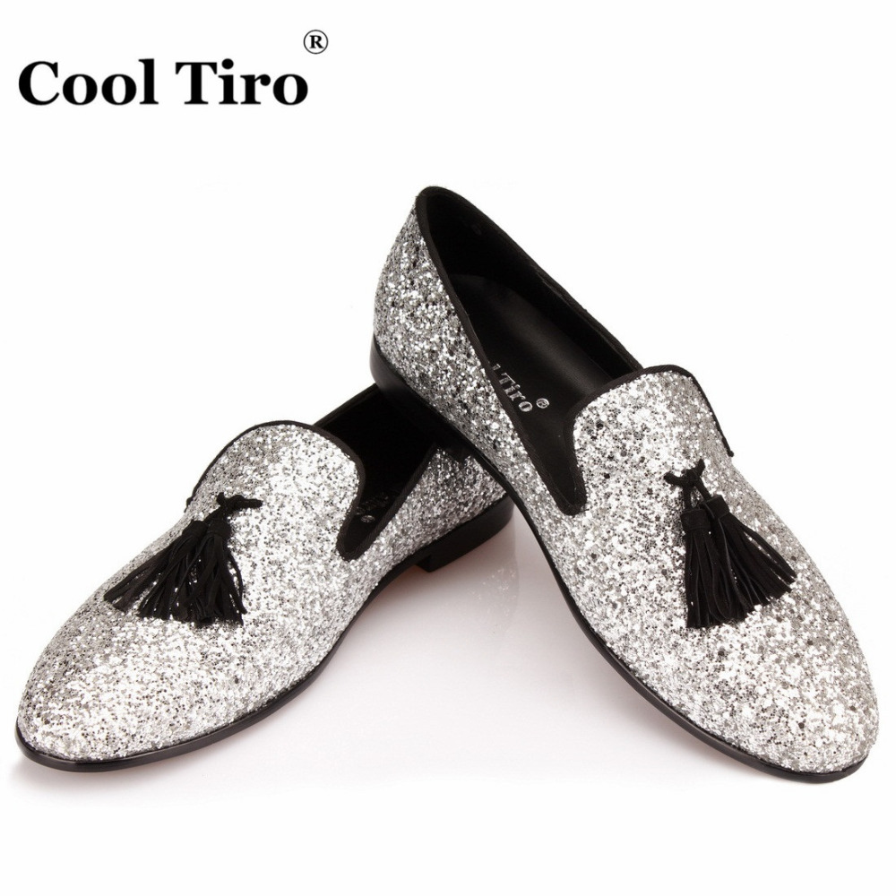 COOL TIRO Silver Sequins Glitter Tassels Loafers Men Dress Shoes Smoking Slippers  Men s Moccasins Casual Shoes Wedding Flats 274469393040