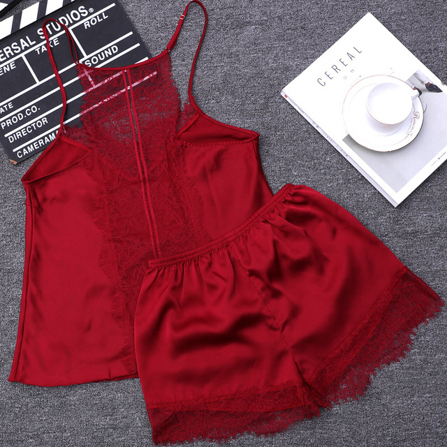 QWEEK שתי חתיכה סטי נשים הלבשת משי פיג 'מה סקסית Nightwear סאטן פיג תחרה Homewear פיג' מות שינה טרקלין