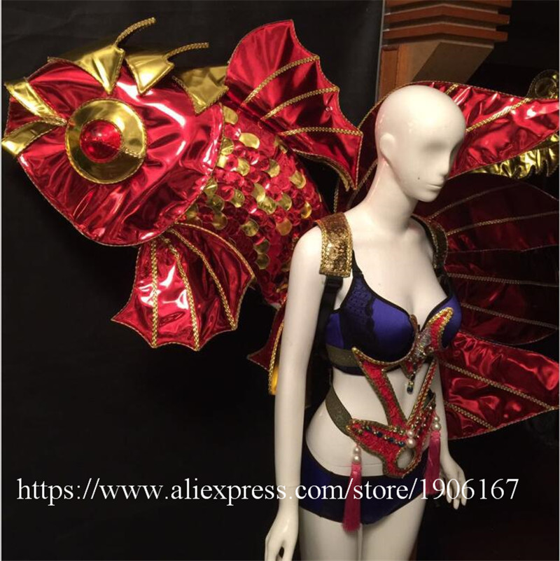 Victoria Catwalk Show Gold Plated Wings TVShow Eveing Dress Costumes Stage Performance Cosplay Women Clothes Party Supplies4