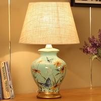 Туда простой современный Керамика затемняя настольная лампа Свадьба дом дистанционного Управление настольная лампа Европейский ретро нас