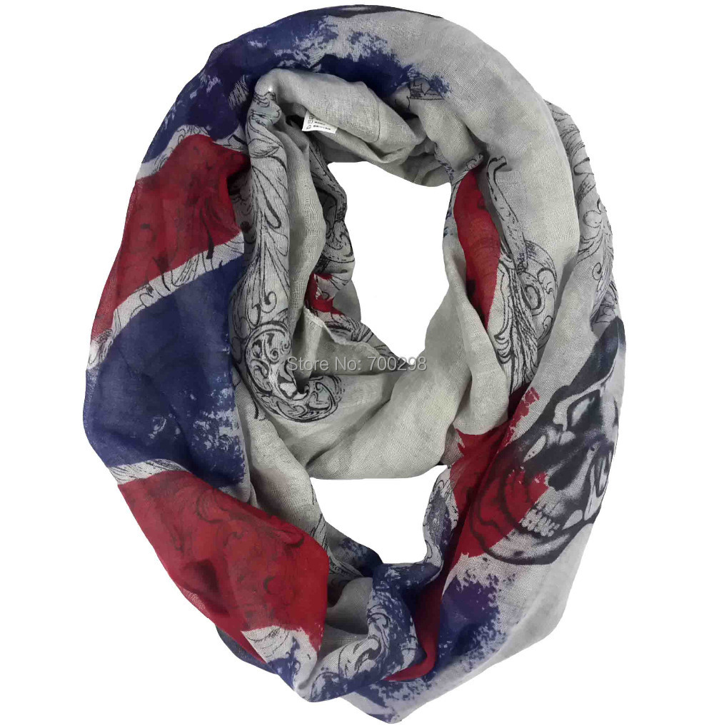 Union Jack And Skull Print Infinity Loop Scarf Snood Women