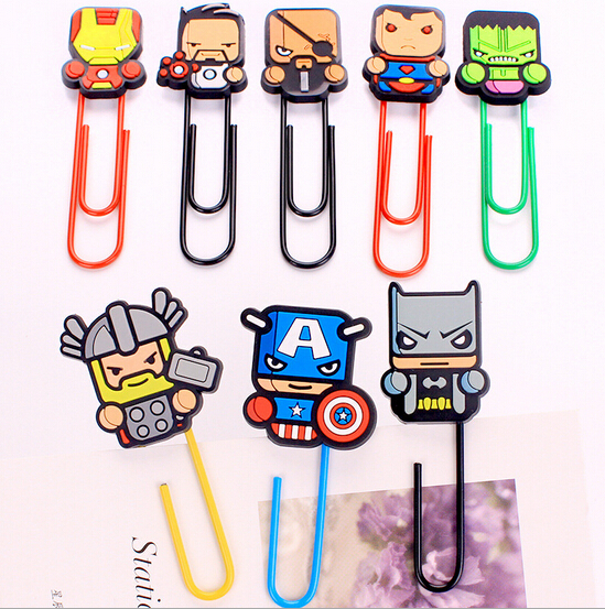 Super American Marvel Heroes Paper Clip Bookmark Promotional Gift Stationery School Office Supply Escolar Papelaria