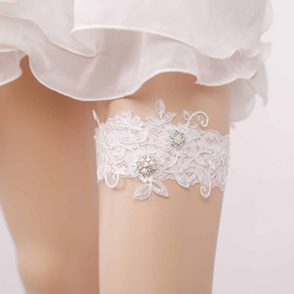Victoria Lynn Silver Satin and White Lace with Bow Garter Darice 10 Piece