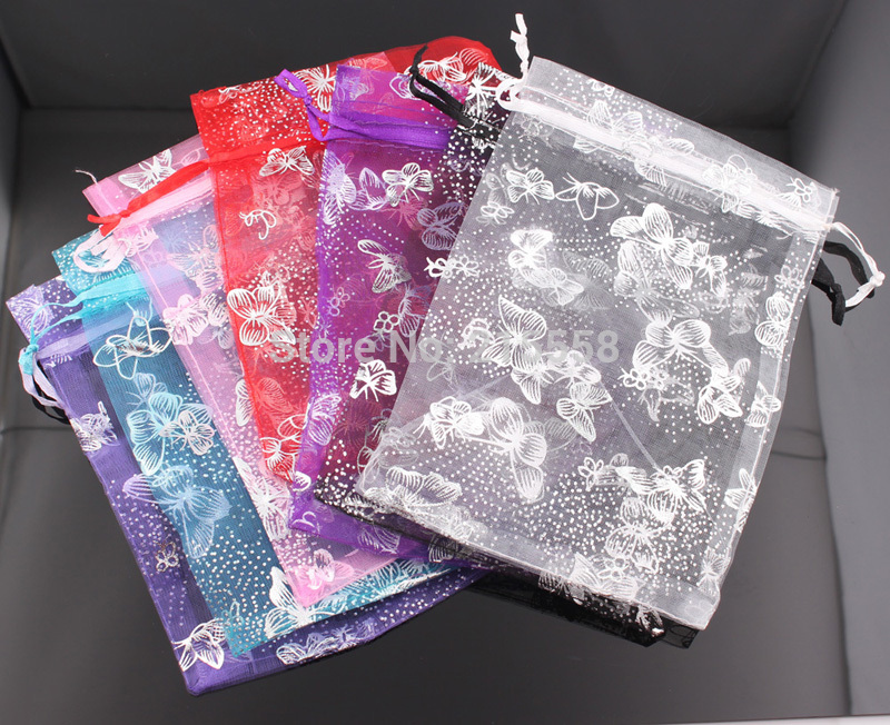 Wholesale 13x18cm Christmas Wedding Voile Gift Bag Butterfly Organza Bag Jewelry Packing Drawstring Pouch JJAL BG147 3d florals pattern u pouch design voile briefs