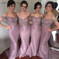 Элегантные длинные фиолетовые платья русалки для подружек невесты Дубай короткий рукав кружево аппликации свадебное платье Brautjungfernkleid