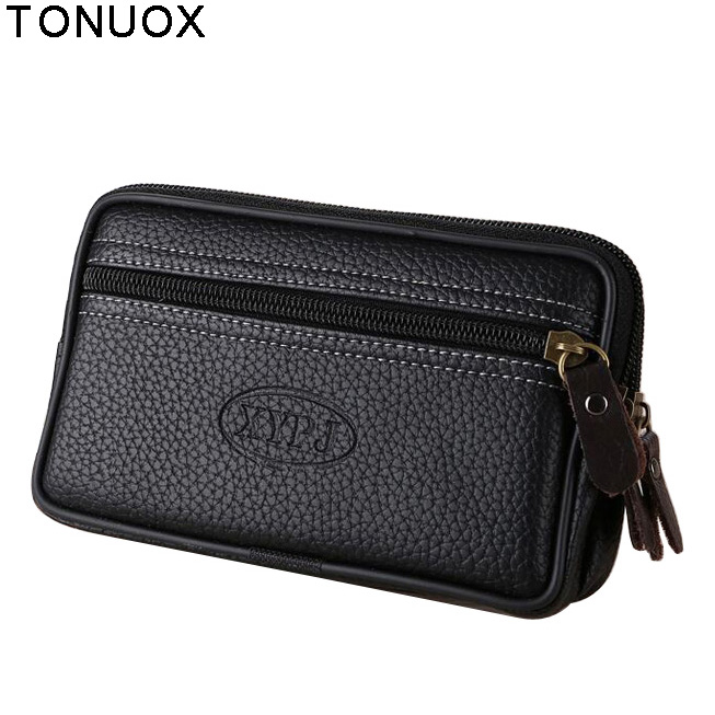 Men Fanny Pack For Mobile Phone Black PU Leather Zipper Coin Purse Pouch Burse Casual Multifunctional Waist Packs Man Bag Pocket double pocket mobile phone pouch arm bag with velcro strap black