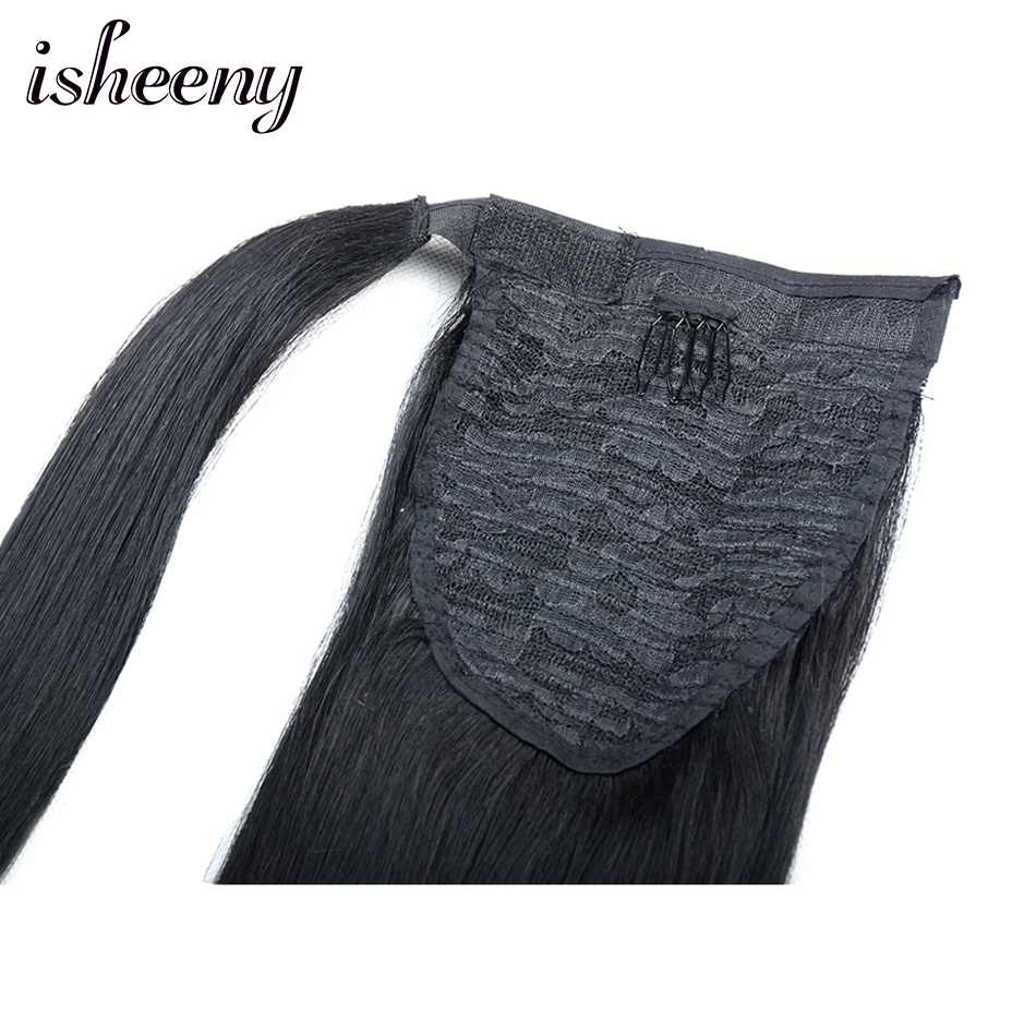 """Isheeny 14"""" 18"""" 22"""" Clip-In Ponytail Extensions Natural Brazilian Remy Human Hair Extensions For Black Women Fashion Style"""