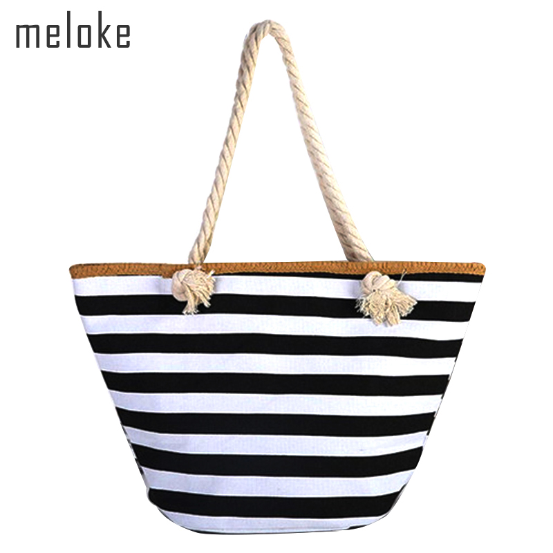 Meloke 2019 ženy slámy ramenní tašky velké velikosti plážové tašky módní pruhované cestovní tašky knihy tašky pro dívky plátno totes