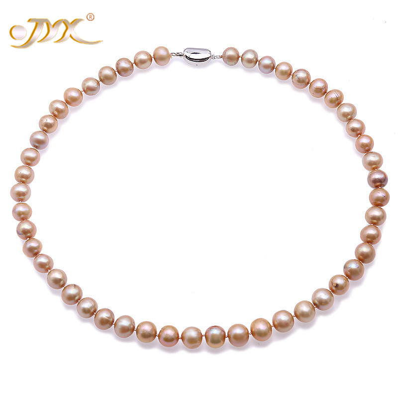 JYX Fashion Pearl Necklace Set 9-10mm Round Champagne Freshwater Cultured Pearl Necklace Bracelet and Earrings Jewelry SetJYX Fashion Pearl Necklace Set 9-10mm Round Champagne Freshwater Cultured Pearl Necklace Bracelet and Earrings Jewelry Set